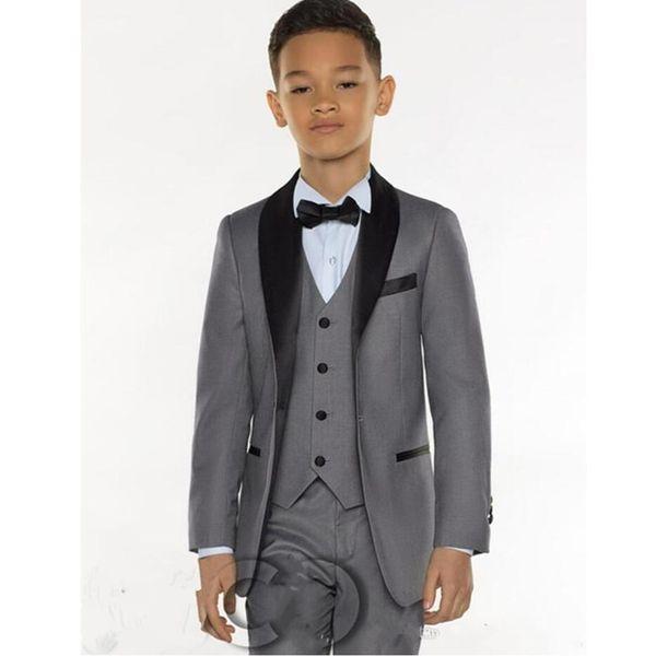 Tre pezzi Grey Boys Tuxedo Economici Immagine reale Ragazzi Abiti da cerimonia Abiti formali Tuxedo Kids Tuxedo (Jacket + pant + vest + tie)
