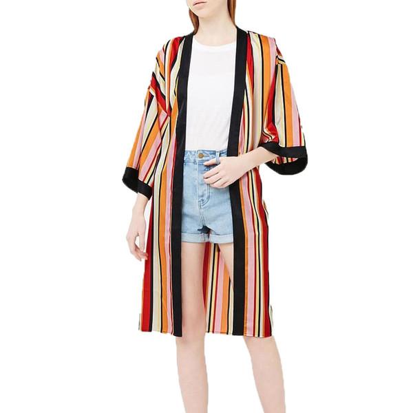 Summer top 2018 casual women blouses kimono cardigan women tops stripe womens clothing long shirt