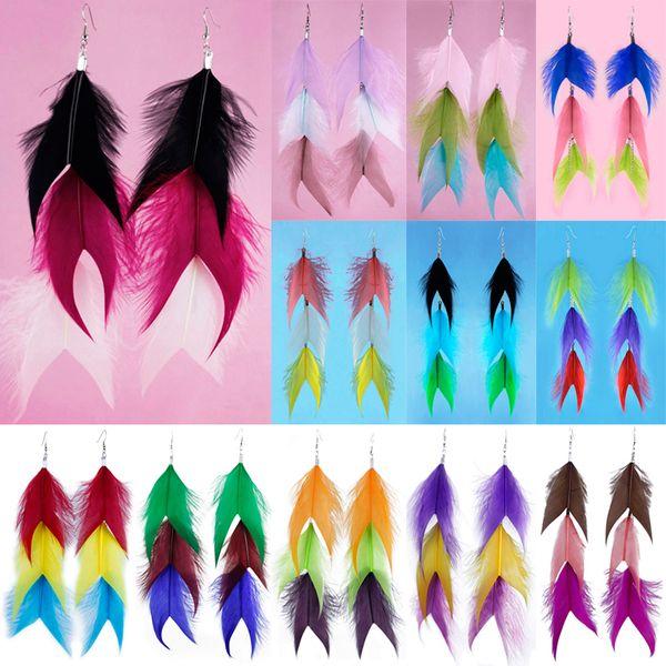 Feather Earrings 12 Colors wholesale lots Cute Charm Long Chain Multi-Color Light Dangle Eardrop ( Dusty Green Pale Rose Lilac Plum )(JF292)