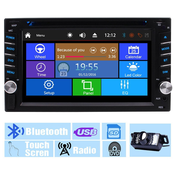 Backup Camera+Multi-Touch Screen Audio Autoradio Monitor 2Din In Dash Video CD VCD Car DVD Player USB SD Radio Receiver Bluetooth Car Stereo