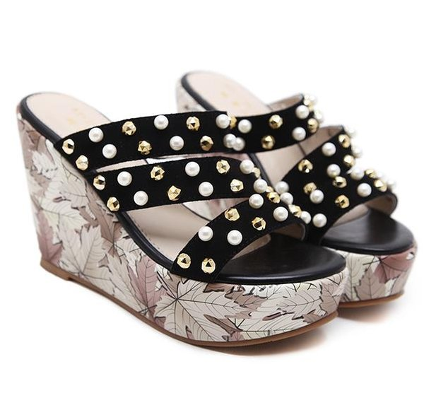 Chic printed rivets strappy high heel platform wedges slipper sandals ladies summer shoes 2018 size 34 to 39