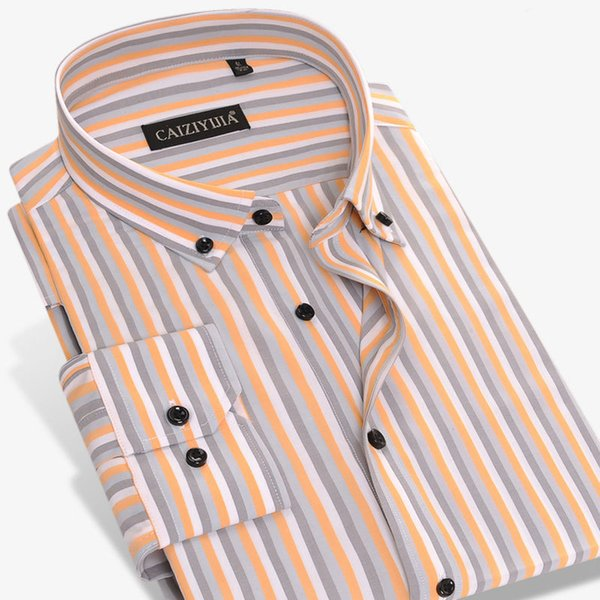 New Fashion Popular Men's Striped Dress Shirts Button-down Classic Formal Business Slim Fit Men Long Sleeve Smart Casual Shirt