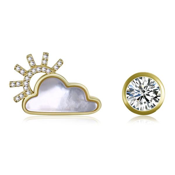 Asymmetric Stud Earrings Sterling Silver Sun And Cloud Shape Ear Studs With Zircon Fine Jewelry fit Wedding For Female Lady Gift
