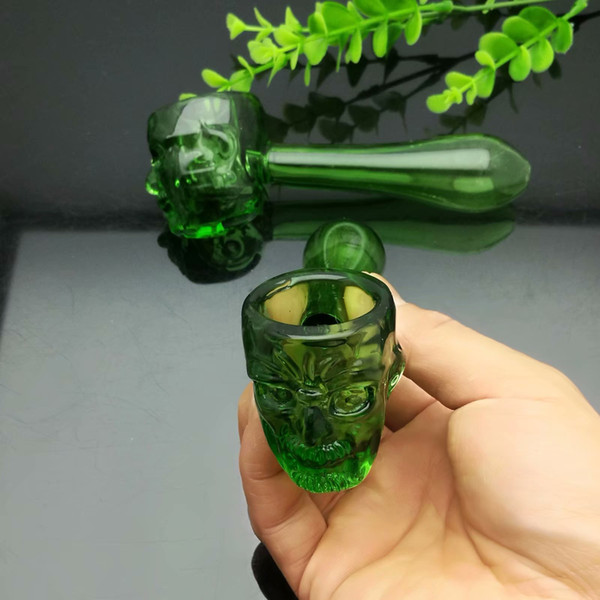 New green ghost glass pipe glass bong water pipe Titanium nail grinder, Glass Bubblers For Smoking Pipe Mix Colors