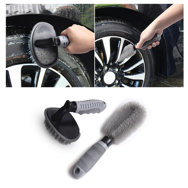 Car Wheel Cleaning Kit Tire Rim Brush Hub Brush 2PCS Set Anti-slip Handle Soft Wire Scrub For Car Motorcycle Bike Wheel Cleaning