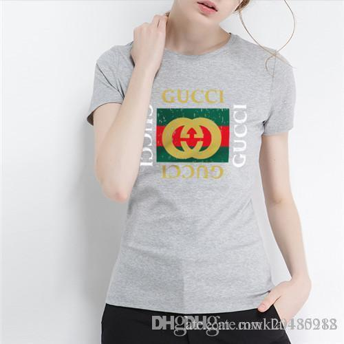 0801aac4 Free shipping Italy designer women Tshirt Fashion O neck Short sleeved Slim  Fit Brand logo Print