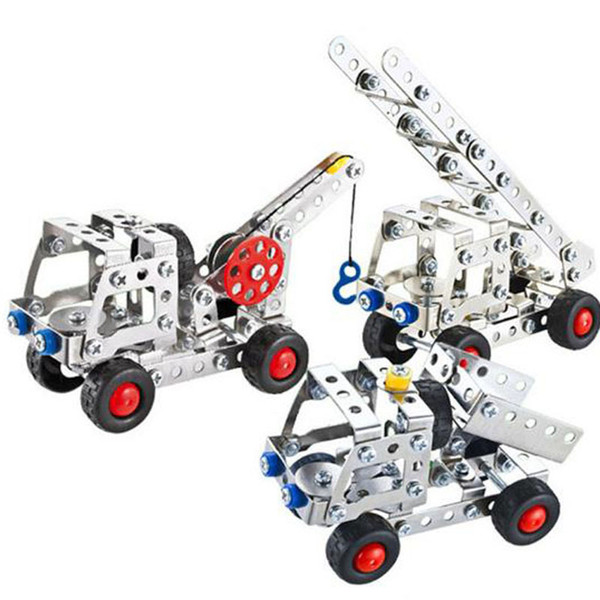 best selling Kids 3D Assembly Metal Engineering Vehicles Model Kits Crane Truck Building Puzzles Construction Alloy Assembled Building Blocks Model Toys