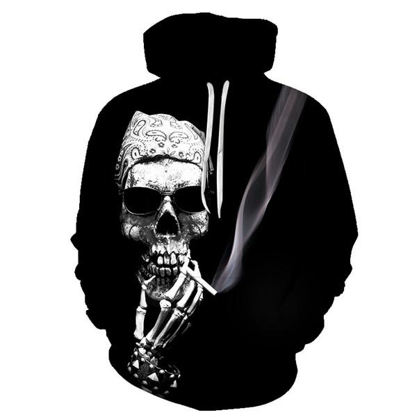 2018 Herbst neue Original Design Männer Hoodies 3D Schädel Rauchen Sweatshirts Qualität Mode eigenartige Street Dance Hooded Streetwear