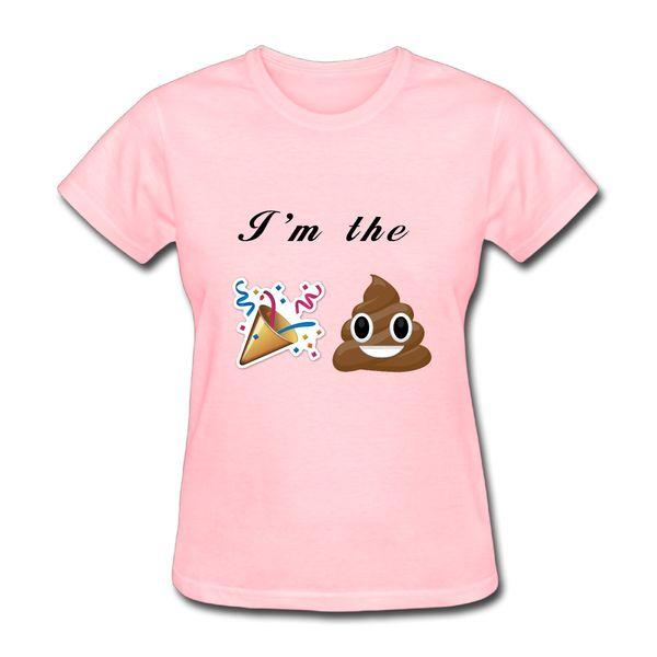 T das mulheres Eu sou O Partido Pooper Emoji Camisetas Mulheres Casuais Merda De Algodão E Fogos de Artifício Mulher Personalidade T-shirt