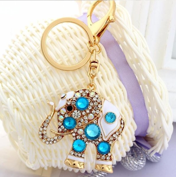 Bling Bling Anahtarlık Boho Fil Tasarım Kristal Taklidi Anahtar Zincirleri Altın Tutucu Çanta Çanta Araba Kadınlar Için Güzel Anahtarlıklar Takı