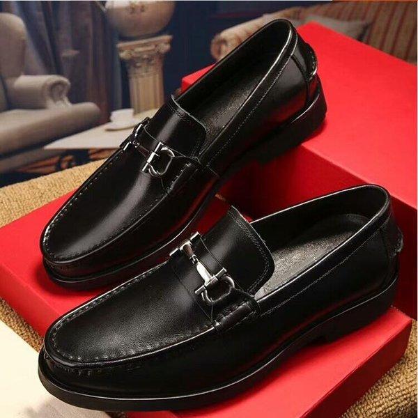 Europe station de métal boucle de chaussures en cuir décontractée supérieure couche chaussures en cuir pour les jeunes logo populaire hommes formelle chaussures de mariageG3,13