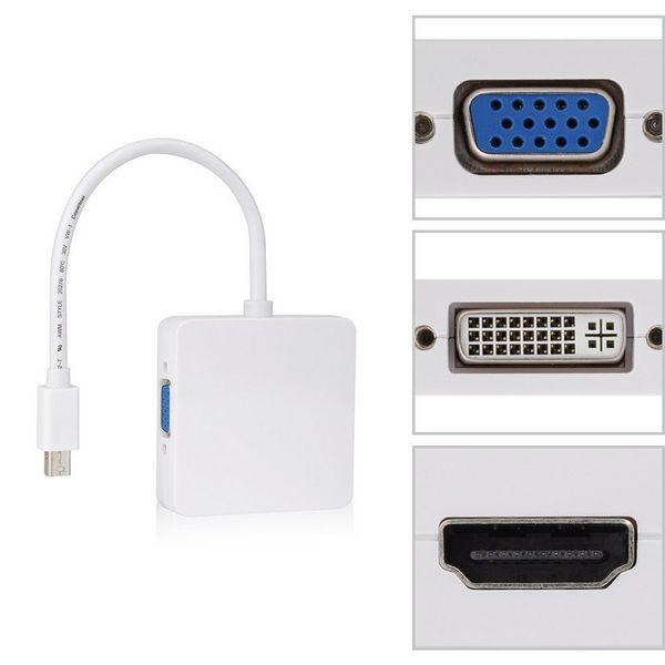 Mini DP Displayport to DVI VGA HDMI HDTV Adapter 3 in1 for Apple MacBook Air Pro iMac