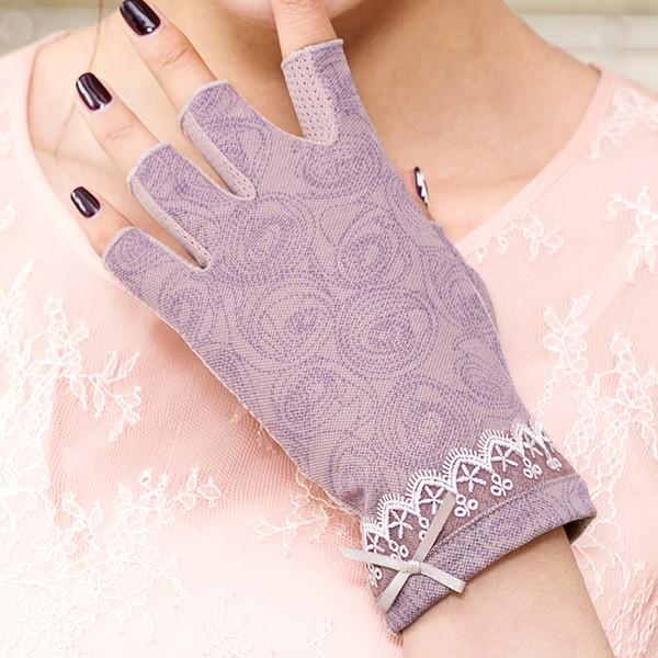 REALBY Cotton Womens Fingerless Gloves Summer Sunscreen Gloves Female Ultraviolet Half-Finger Driving Gloves Luvas gants femme D18110705