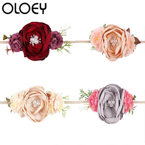 Newborn Flower Crown Garland Pérola Rhinestone Handmade Headbands Floral Elastic Headband Roupas de Bebê Crianças Acessórios Para o Cabelo