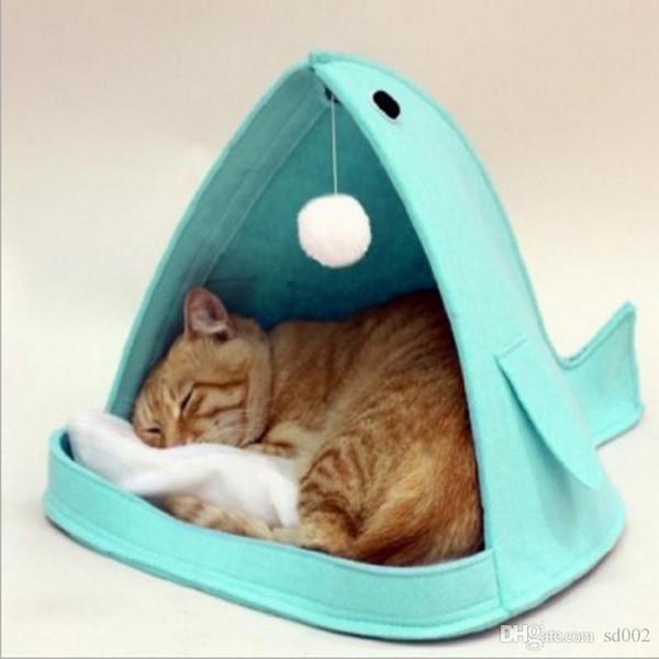 Whale Shape Cat Nest Foldable Hair Felt Keep Warm Dog Cat Houses Portable Design Pet Cattery For Household Use 29fr ZZ