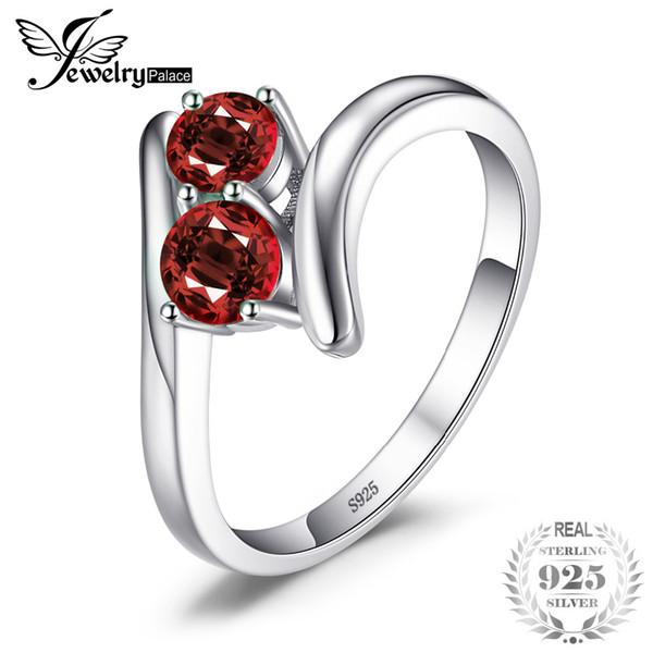 Jewelrypalace moda 0.95ct vermelho natural granada 2 pedra bandas de casamento anéis para o amor 925 prata esterlina rodada anel fine jewelry