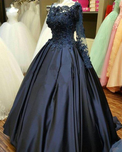 Navy Blue Appliques Satin Prom Dresses With Illusion Full Sleeve Quinceanera Ball Gowns 3D Flowers Formal Party Gowns Beads Evening Dresses
