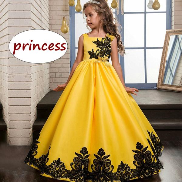 Crianças vestido de festa de casamento crianças menina amarelo vestido de baile à noite crianças adolescentes formal vestido de renda preta