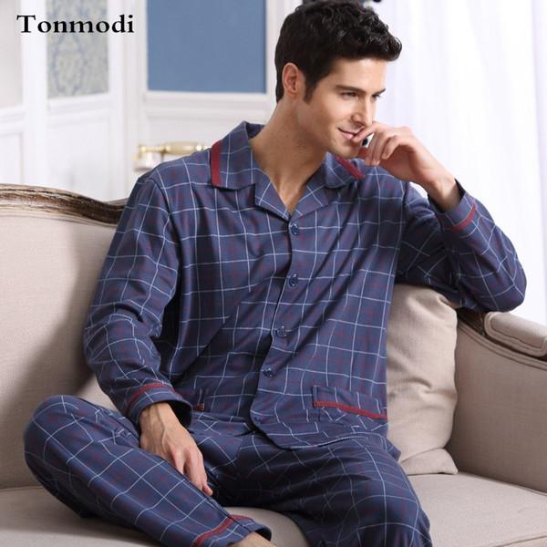 Men's Pajamas Spring Autumn Long Sleeve Sleepwear Cotton Plaid Cardigan Pyjamas Men Lounge Pajama Sets Plus size 4XL Sleep