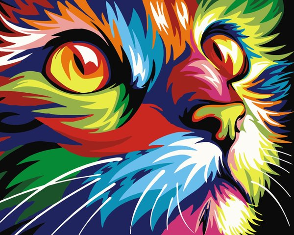 16x20'' DIY Paint on Canvas by Number Kits Abstract Art Acrylic Oil Painting for Adults Children Abstract Color Cat Design Frame