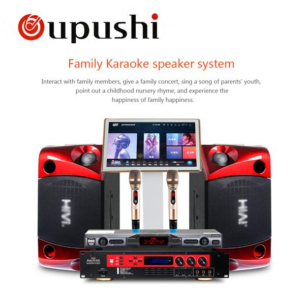 oupushi ok-3 Home KTV Mini Karaoke Mixer System Digital Sound Audio Mixer Singing Machine 2 Wireless Microphone speaker