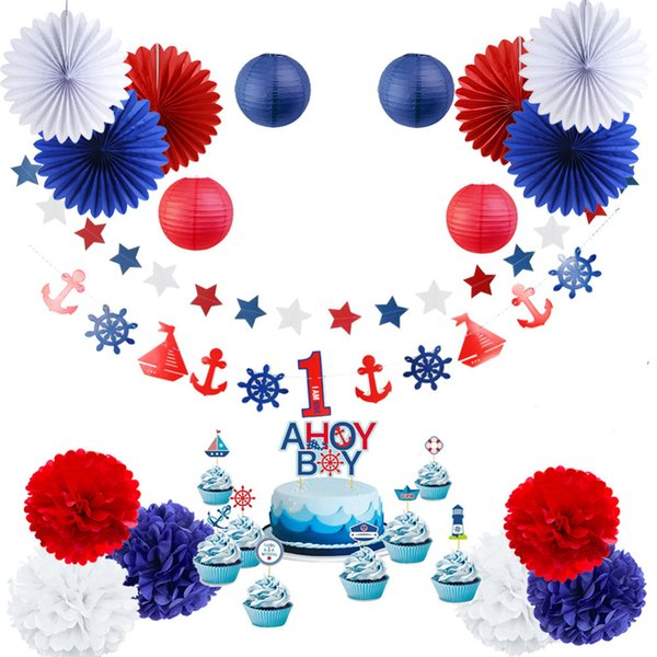 1 -6 Years Kids Birthday Party Decoration 19pcs /Set First Birthday Boy Party Nautical Theme With Cupcake Topper For 1st Birthday