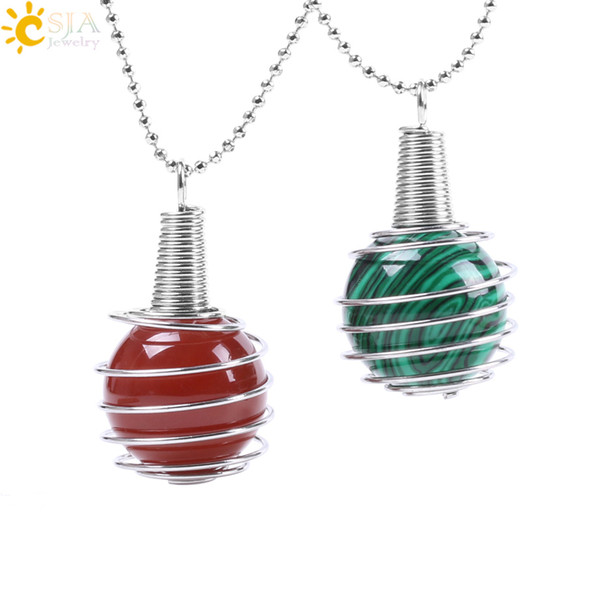 CSJA Funny Hollow Spiral Lantern Cage Necklace Pendant Reiki Healing Chakra Natural Gem Stone Round Bead for Women Men Jewelry Gift F056