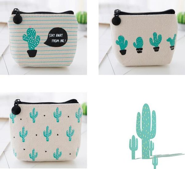 NEW Creative cactus printed Coin purse canvas key holder wallet hasp small Christmas gifts bag clutch handbag free shipping