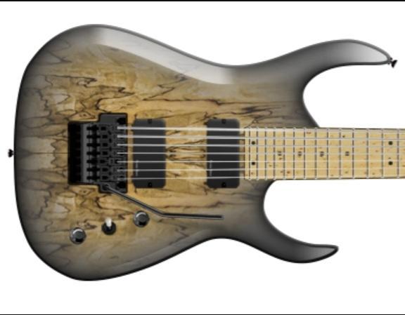 Spalted 메이플 탑으로 주문 7 현 기타에 대한 보증금 플로이드 로즈 블랙 버드 인레이 블랙 바인딩 리버스 주축