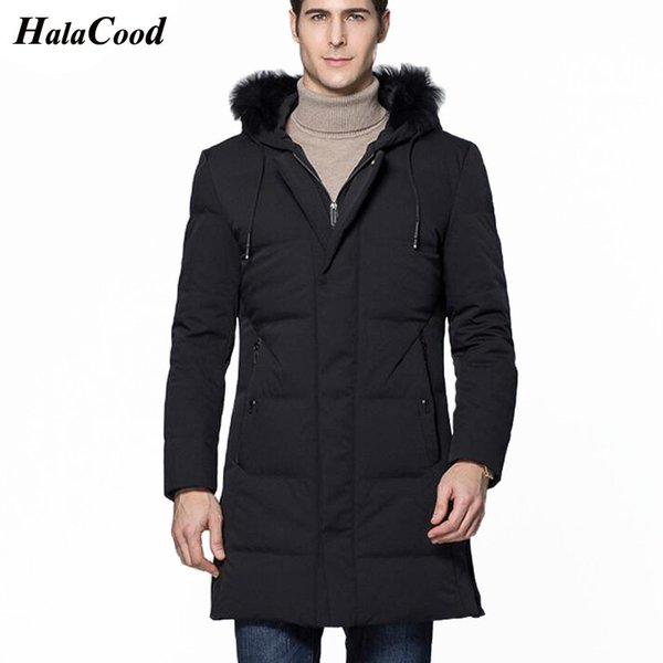 Halacood Hot 2018 Winter Jacket Men Brand Clothing High Quality 90% White Duck Down Coat X-long Hoodies Thick Mens Feather Parka