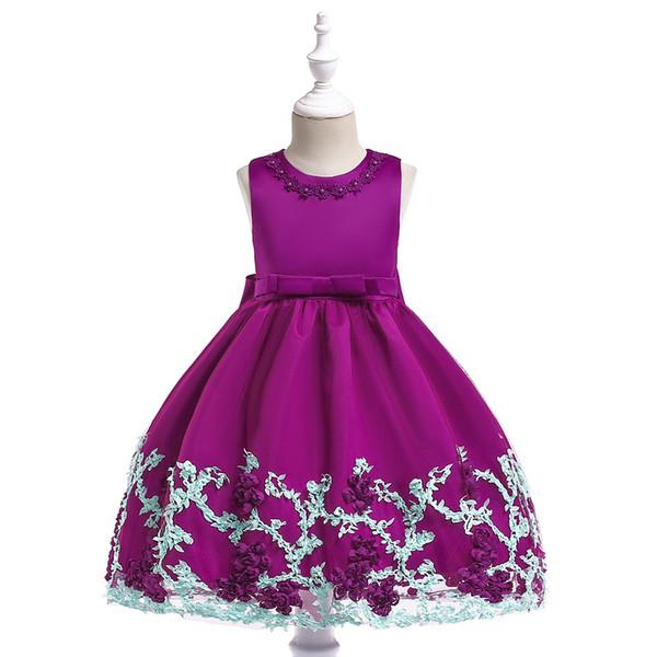 Детское платье 3D трехмерный цветочный платье принцессы сетки вышивка свадебное платье хлопок 4-12 лет