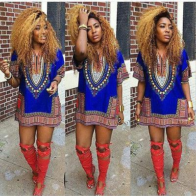 2018 5Color Summer Dress Sexy Mini African Tranditional Print Dashiki Dress Ladies Dresses Folk Art African Women Dress Clothing