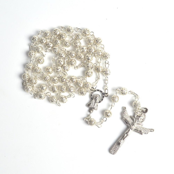 Fashionable Small Size Round Silver Plated Beads Rosary Necklace