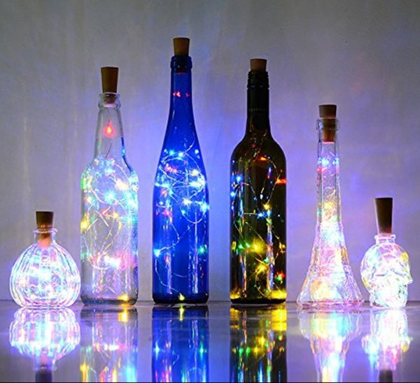 Hot 2M 20LED Lamp Cork Shaped Bottle Stopper Light Glass Wine LED Copper Wire String Lights For Xmas Party Wedding