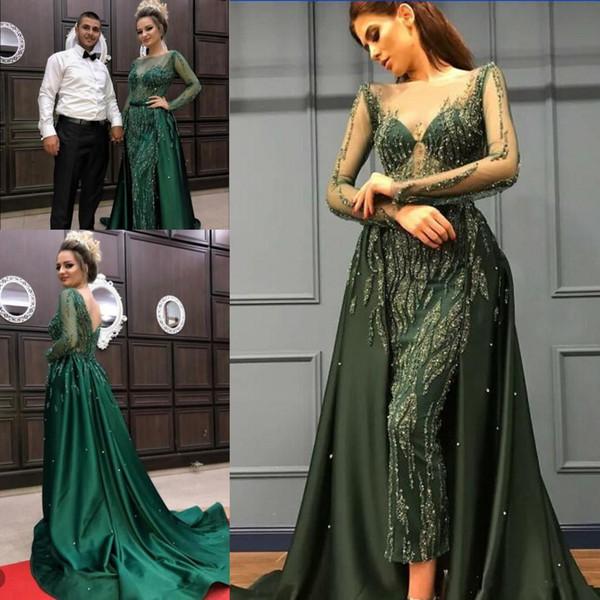 Eremald Green Crystal Prom Pageant Königin Kleider mit Überrock 2018 ziad nakad Sheer Perlen Hals Langarm Luxus Abendgarderobe Kleid