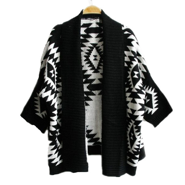 Aztec Knit Womens Cardigans Batwing Sleeve Stripe Cardigan Black Vintage Pop Style Geometric Sweater 3 colors available