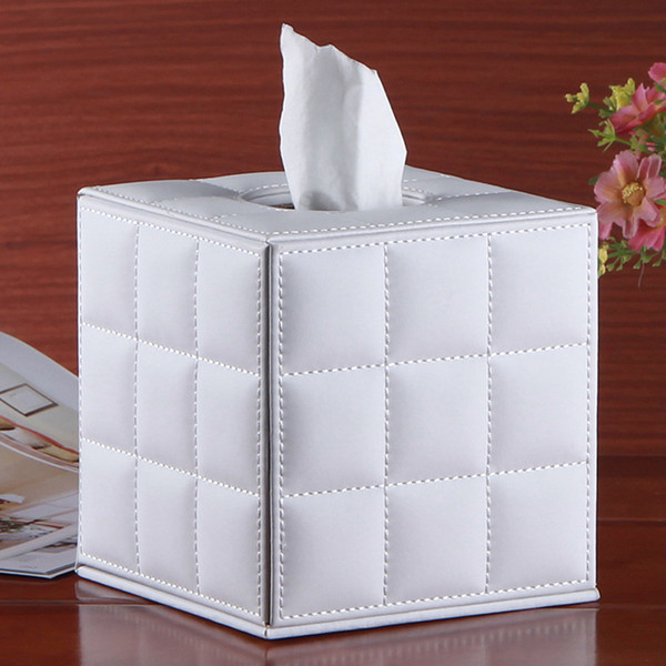 PU Leather Roll Paper Holder for Toilet Bathroom Cube Tissue Box for Home Room Coffee Desk Table Draw Tissue Holder