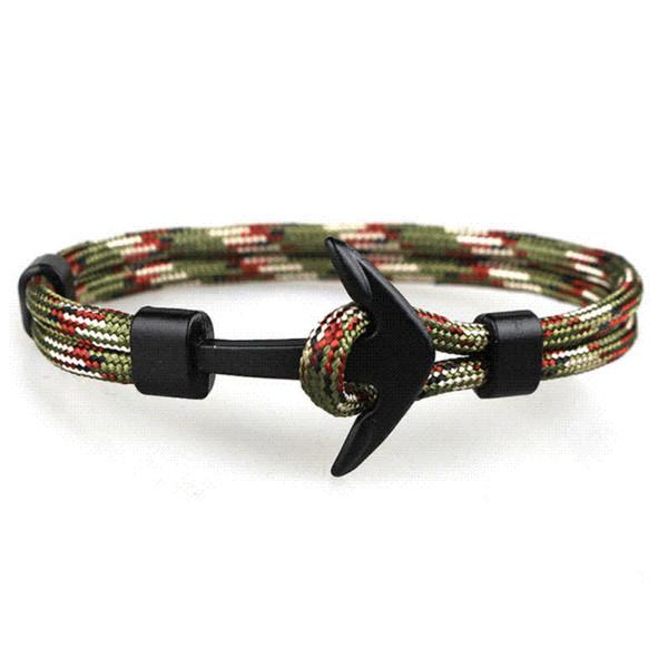 2018 New Fashion Black Anchor Bracelets Men Charm 550 Survival Rope Chain Paracord Bracelet Male Wrap Metal Sport Hooks 2C0284