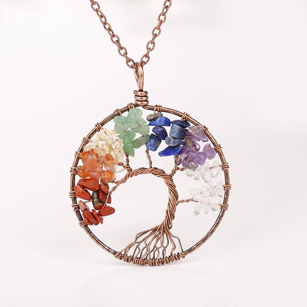 2018 Stylish Natural Gemstone Pendant Necklaces Chakra Jewelry Gravel Beads Round Tree Of Life Winding Reiki Pendant Necklaces For Women