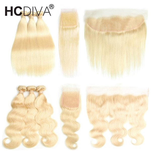 Top Selling #613 Blond Human Hair 3 Bundles with Lace Closure 8A Mink Brazilian Hair Straight Body Wave with Lace Frontal Cloaure