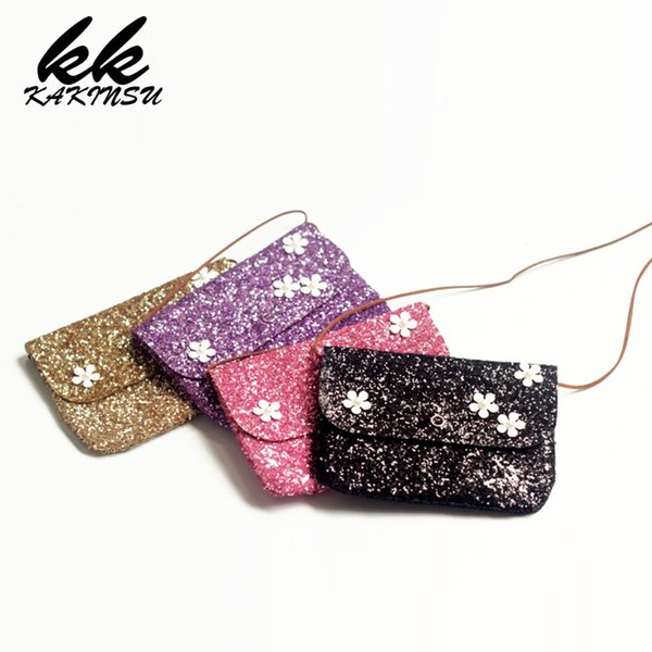 Flowers Messenger Bag Children Travel Shoulder Bags Lovely Kids Purse Handbag Glittering sequins Crossbody Bag for Baby Girl