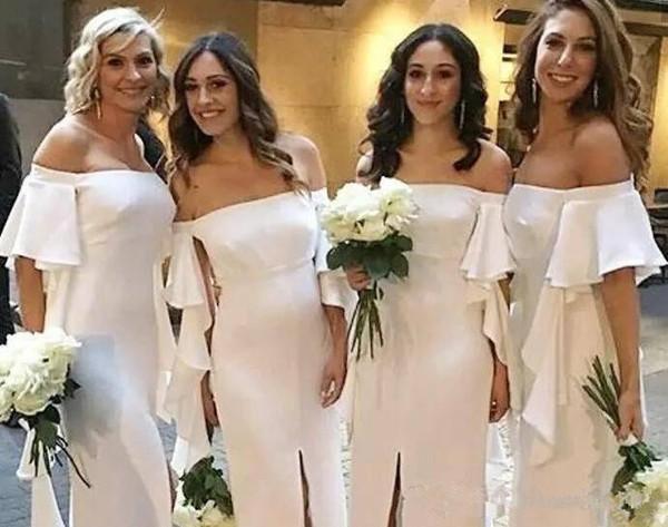2018 Élégant Blanc Hors Épaule Longue Robes De Demoiselle D'honneur Longueur Etage Avant Split Demoiselle D'honneur Robes Mousseline De Soie Longue Robe De Demoiselle D'honneur