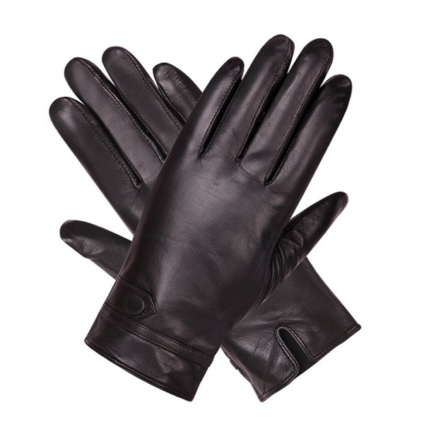Black Touch Screen Leather Gloves Man Winter Keep Warm Plush Lined Thicken Windproof Non-Slip Sheepskin Gloves Male M18008NC-9