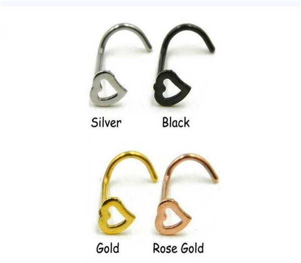 Free Body Jewelry Heart Nose Rings Screw Stud Ring Piercing Stainless Steel Nose Open Hoop Ring Earring Studs