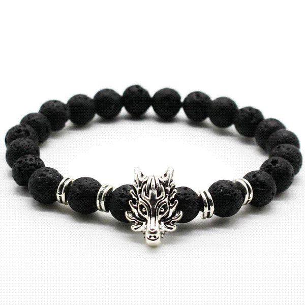 Carino orso marca argento antico animale lupo testa braccialetto uomini gioielli moda nero glassato vulcano lava pietra perline uomini braccialetto