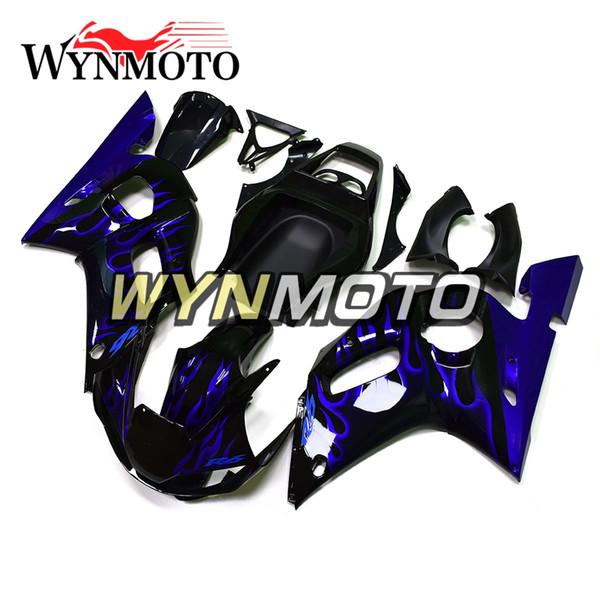 Neue 1998-2002 R6 Motorrad ABS Komplette Verkleidung Kit Für Yamaha YZF600 R6 YZF-600 1998 1999 2000 2001 2002 Karosserie Schwarz Mit Blauen Bränden