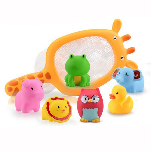 Super Fun 7 Teile / sätze DuckFish Badezimmer Kinder Spielzeug Sounding Angeln Spielzeug Netzbeutel Abholen Spielen Wasserbad Puppe Wasser Spray Bad spielzeug
