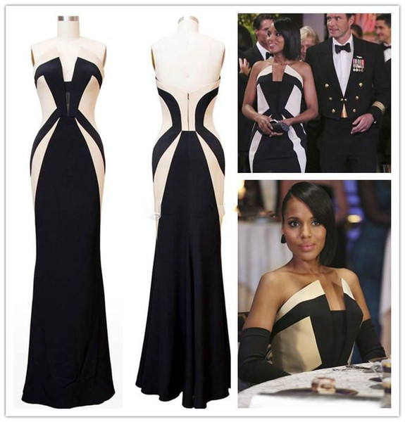 Kerry Washington Scandal Celebrity Dresses Olivia Pope Black and White Evening Gowns Women Formal Dresses Red Carpet Dresses for Ladies