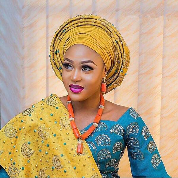 best selling New design aso oke headtie,yellow African Aso Oke Headtie nigeria for Nigerian African for women Wedding Party 2 piece 30
