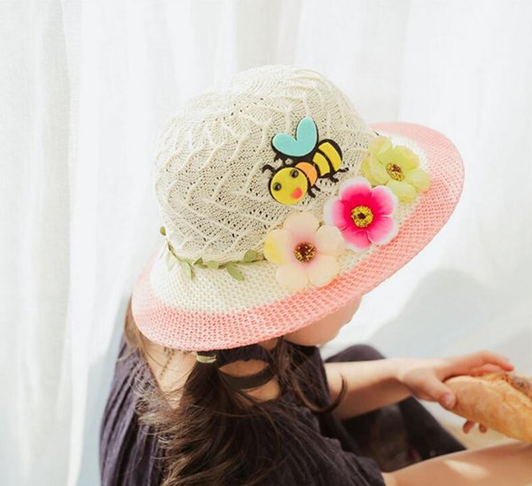 5 Color nice breathable children straw hats with cartoon bee garland creative baby hats girls bucket hat kids beach hat caps free ship